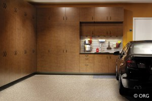 Organized Garage Storage System with Car In It